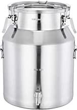Stainless steel sealed bucket, household sealed tank with faucet, can store oil, rice, milk, wine, storage bucket, large capacity transport bucket, 21-45L (Color : Silver, Size : 40L)