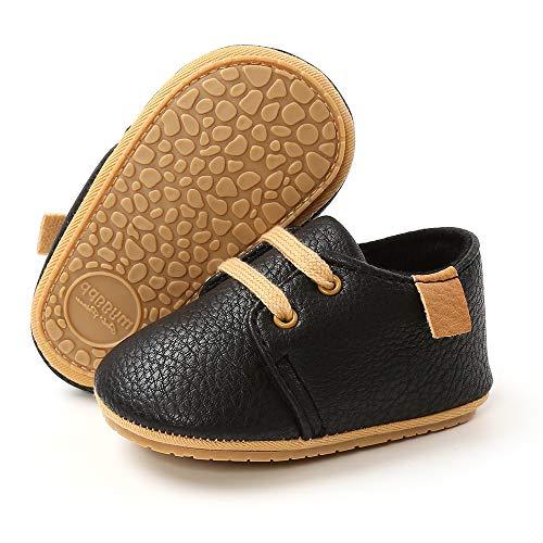 RVROVIC Zapatillas de deporte antideslizantes Oxford mocasines planos para bebé niño pequeño PU cuero suave suela zapatos de bebé, negro (1-negro), 6-12 meses