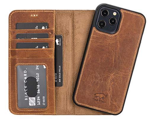 Solo Pelle Lederhülle kompatibel für iPhone 12 Pro Max in 6.7 Zoll abnehmbare Hülle (2in1) inkl. Kartenfächer für das original Apple iPhone 12 Pro Max (Camel Braun)