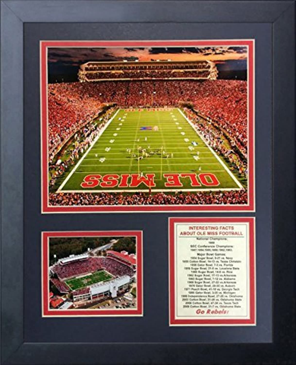 Legends Never Die Ole Miss Vaught-Hemingway Stadium Framed Photo Collage, 11 by 14-Inch by Legends Never Die