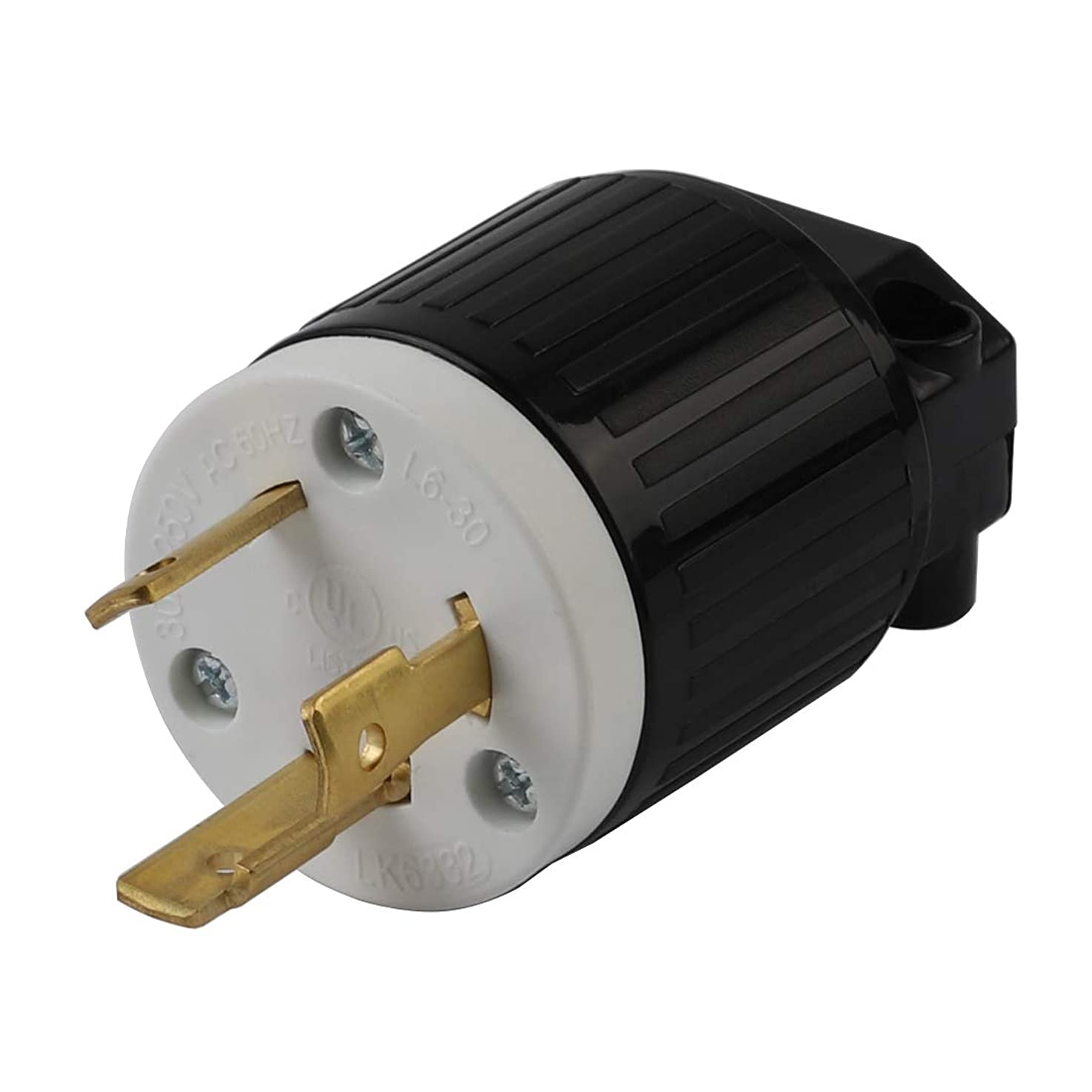 Nema L6-30P 30 Amp 250 Volt Plug, L6-30 Locking Power Cord Connector 2P 3W, Locking Plug, Industrial Grade DIY Twist-Lock Cord Male Plug