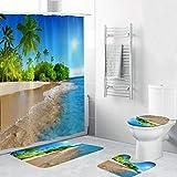 LEEDY - Juego de 4 alfombrillas de baño y cortina de ducha impermeables, antideslizantes, de poliéster, para inodoro, poliéster, H, Medium