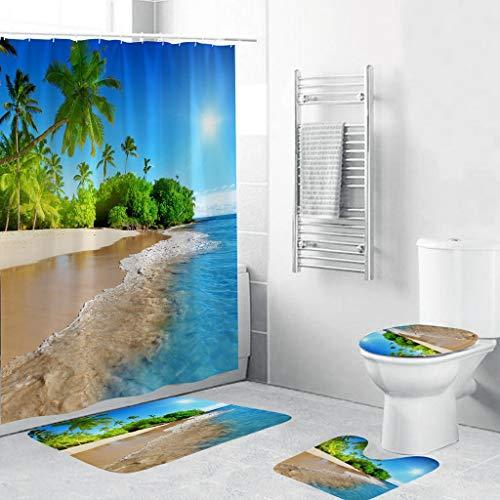 LEEDY - Juego de 4 alfombrillas de baño y cortina de ducha