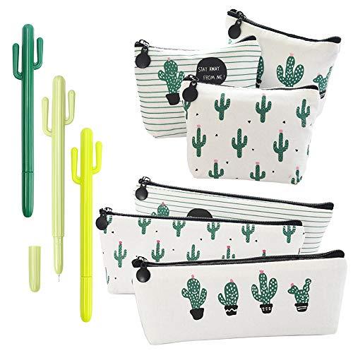 RETON 9 Paquetes de Artículos de Papelería para Cactus - 3 x Bolsa de Lápiz con Estuche para Bolígrafos de Lona, 3 x Monedero de Lona, Pluma de Gel de 3 x 0,5 mm para Escuela y Oficina