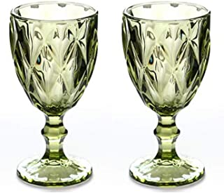 Wine Glass, Colored Glass Goblet, Set of 2, 10oz Vintage Pattern Embossed High Clear Glass Goblets for Party, Wedding,Gree...