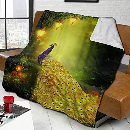 ZHENGYUAN Felpa de terciopelo, bonita manta de pavo real dorada, térmica, de forro polar, alfombra de dormitorio, colcha para mujer, resistente, para el otoño, 80 × 60 cm