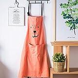 Lindong Süß Kartoon Schürze mit Tasche für Frauen Kinder Wasserdicht Baumwolle Leinen Küchenschürze Latzschürze Kochschürze Kinder Rot - 4