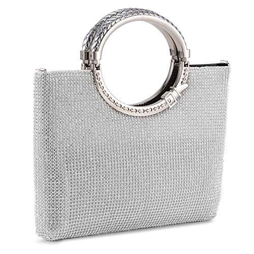 BAIGIO Handtasche Damen Abentasche Clutch Tasche Elegant Schultertasche mit Strass für Party Hochzeit (Silber)