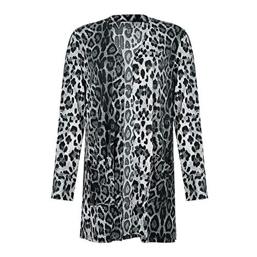 Katenyl Cárdigan con estampado de leopardo europeo y hermoso Chaqueta de punto suelta de un solo pecho a la moda informal de longitud media S