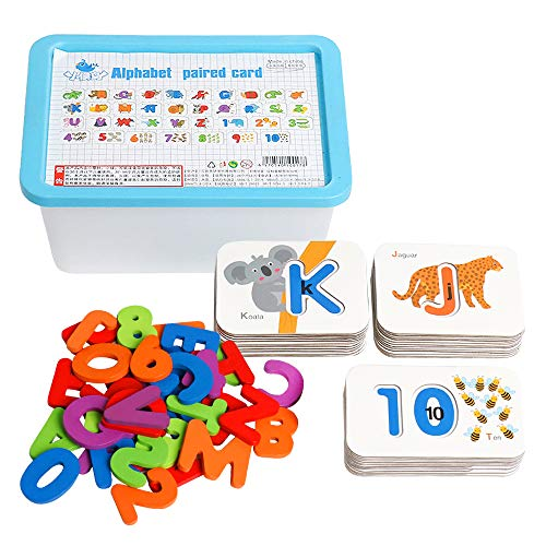 TSYAN Alphabet Number Flash Cards for Toddlers 2-4 Years, Montessori Preschool Learning Activities Wooden Letters Numbers Educational Toys for Kids ABC Puzzles Flashcards Gifts for Baby Boys Girls