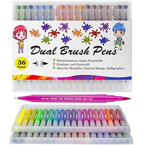 Dual Brush Pen, 36 Farben Set, Stifte für Handlettering Aquarellstifte Filzstifte Pinselstifte Fasermaler 1-5 mm, Fineliner 0,4mm, für Kalligraphie Bullet Journal Mandala Comics Manga Aquarell