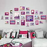 LI MING SHOP Cadre Photo Collage Mur Photo Ensemble en Bois Massif Convient pour Galerie Salon Salle À Manger Chambre Hôtel 159x90cm(Color:Rose Blanche)