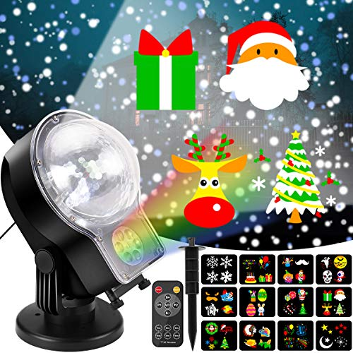 Christmas Projector Lights Outdoor 2-in-1 Snowfall with Moving Patterns Remote Control Waterproof...