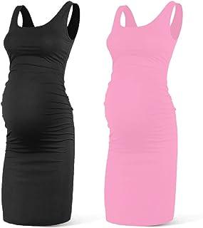 Rnxrbb Women Summer Sleeveless Maternity Dress Pregancy...