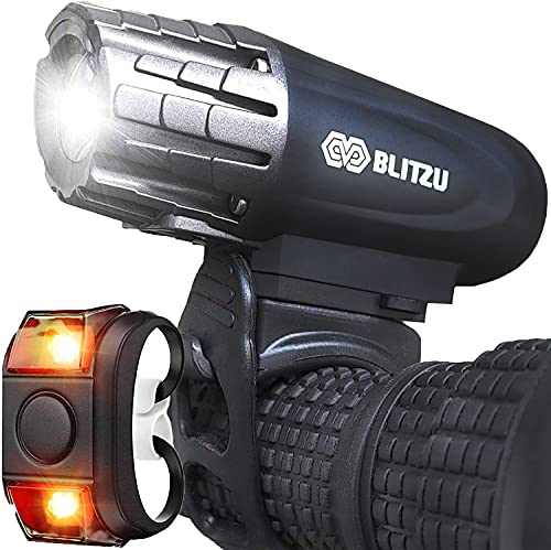 BLITZU Bike Lights Front and Back, Bicycle Accessories for Night Riding, Cycling. Reflectors Powerful Rechargeable Headlight and Taillight Rear LED Safety Light Set for Kids Adults Mountain Bikes