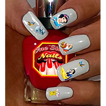 Amazon Com Disney Snow White Clear Waterslide Nail Art Decals Tattoos With Princess Seven Dwarfs And Bird Set Of 80 By One Stop Nails Beauty