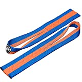 LUXIAOJUN Weight Lifting Wrist Straps (Pair) for Olympic Weightlifting, Powerlifting, Strength Training - 12'' Cotton Wrist Straps - Men or Women (Orange and Blue)