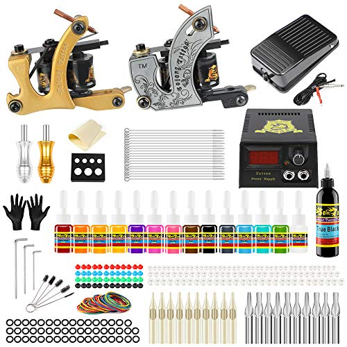 Solong Tattoo Complete Starter Beginner Tattoo Kit 2 Pro Machine...
