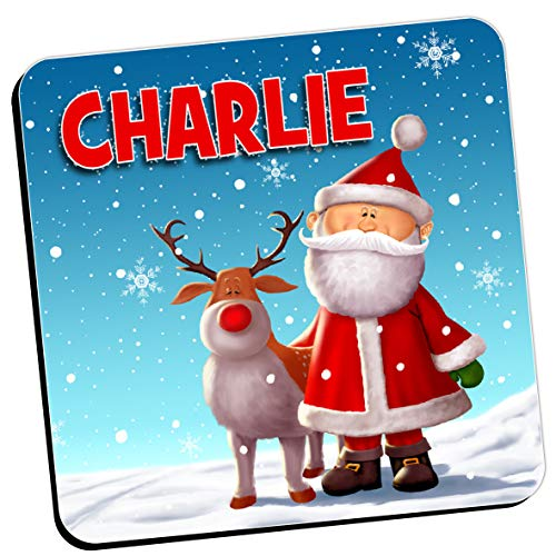 Personalised Christmas Coaster - Any Name Santa Reindeer Drinks Mat (Qty 1) Kids Girls Boys Home, Birthday, Christmas, Stocking Filler Gift Ideas for him her N18