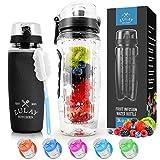 Zulay (34oz Capacity) Fruit Infuser Water Bottle With Sleeve - BPA Free Anti-Slip Grip & Flip Top Lid Infused Water...