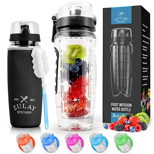 Zulay (34oz Capacity) Fruit Infuser Water Bottle With Sleeve - BPA Free Anti-Slip Grip & Flip Top Lid Infused Water Bottles for Women & Men - Water Infusion Bottle With Cleaning Brush - Onyx Black
