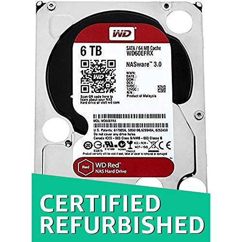 WD Red 6TB NAS Hard Drive - 5400 RPM Class, SATA 6 Gb/s, 64 MB Cache, 3.5in - WD60EFRX (Renewed)