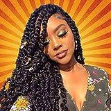 Eerya 6 Packs Passion Twist Crochet Hair Water Wave Bohemian Braids for Passion Twist Crochet Braiding Hair Hot Water Setting Itch Free Synthetic Fiber Natural Hair (6Packs 18Inch, 1B# Natural Black)