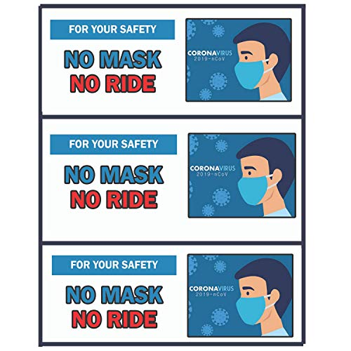 Face Mask Required Sign Sticker - No Mask No Ride Stickers for Car Rideshare Taxi Driver 3 Pieces Vinyl Stickers 2x5.5 Inches Indoor Outdoor Use Weatherproof Tear-Resistant Sign
