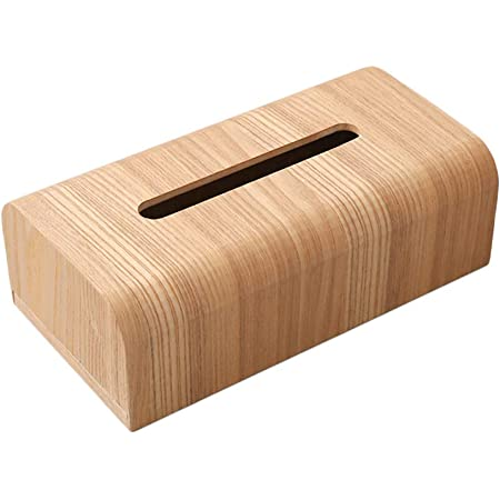 【天然素材】MUMAMI 木製 ティッシュボックス おしゃれな ティッシュケース ティッシュ カバー ケース ナチュラル木目調 約26.5×14×8.5cm (ナチュラル木目調)
