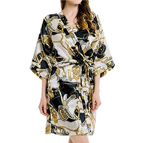 Nachthemd für Damen, byzantinischer Luxus-Stil, Hauskleidung Gr. Large, Schwarz