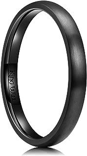3mm/5mm/7mm/9mm Black Dome Titanium Ring Matte Finish Wedding Band Comfort Fit