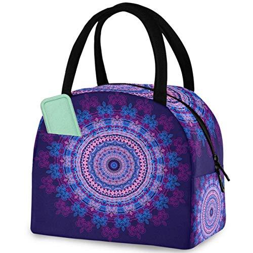 Hermosa bolsa de almuerzo reutilizable Mandala con bolsillo frontal con cierre de cremallera aislante, bolsa térmica para hombre mujer, trabajo, picnic, viajes, playa, pesca
