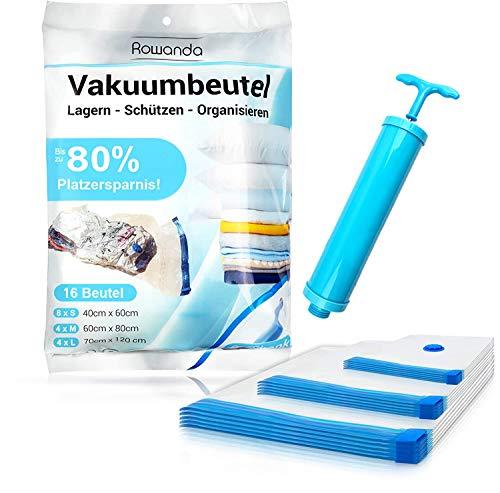 Rowanda Vakuumbeutel - mit praktischer Handpumpe - 3 verschiedenen Größen - Vakuum Aufbewahrungsbeutel für Bettwäsche, Kleidung, Kissen, Decken - Reise Vakuumierbeutel