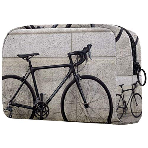 Personalised Makeup Brushes Bag Portable Toiletry Bags for Women Handbag Cosmetic Travel Organiser Retro Bicycle Wheels