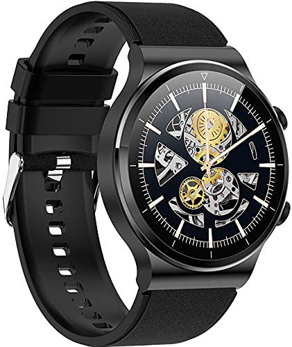 Reloj inteligente con Bluetooth para llamadas y función de WhatsApp, para iOS y Android, pulsómetro, modo deportivo, cámara, Silicona negra, Correas.