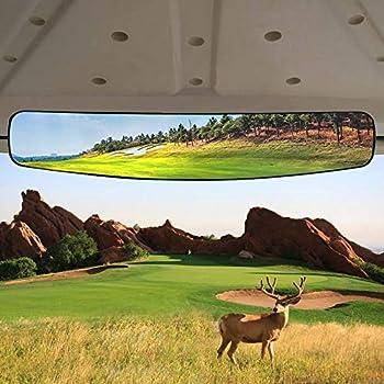 HKOO Golf cart Rear View Mirror,16.5  Extra Wide 180 Degree Panoramic Rear View Mirror Fit for Golf Cart EZGO Club Car Yamaha  Rear View Mirror