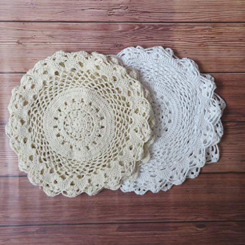 Ouyatoyu 6pcs 12 Doilies Cloth Lace Crochet Doilies Place Mats for Kitchen Round Handmade Cotton Placemats for Glass Bowl Dish Dining Table 3pcs White and 3pcs Beige
