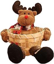 Christmas Decor Boîte de rangement Santa/Bonhomme de neige/Elk Basket Cadeau de Noël Houseware Corbeille à fruits Bambou C...