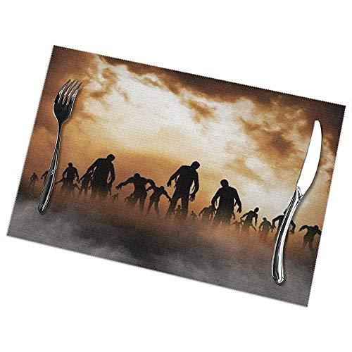 N/A Manteles Individuales para Mesa de Comedor Muchos tapetes Hechos a Mano Impresos con Zombis para Mesa de Cocina Juego de 6