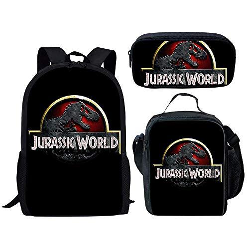 Mochila Escolar de Dinosaurio de Moda 3 uds, Conjunto de Mochilas de Libros para Estudiantes y niñas Adolescentes, Cool Jurassic World, Mochila con Estampado 3D, Mochila ZBH755CGK