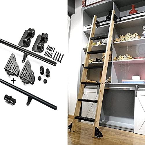 YDYFC Riel de Escalera móvil de Tubo Redondo de 3.3ft-20ft, Juego Completo de Escalera corrediza Hardwar, (sin Escalera) Puerta corrediza Granero Enrollable para Biblioteca/Loft/hogar/Interior-Negro