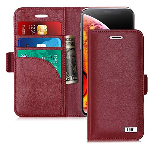FYY [Genuine Leather] Wallet Case for iPhone Xs (5.8') 2018/iPhone X/10 2017, Handmade Flip Folio Wallet Case with Kickstand Card Slots Magnetic Closure for iPhone Xs (5.8') 2018/iPhone X/10 Wine Red