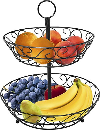 Sorbus 2-Tier Countertop Fruit Basket Holder & Decorative Bowl Stand—Perfect for Fruit, Vegetables, Snacks, Household Items, and Much More (Black)