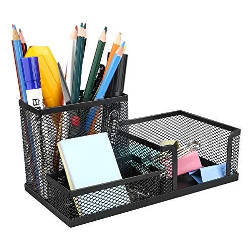 Schreibtisch-Organizer,Powcan Stiftehalter Stifteköcher aus Metall Tisch-Organizer Mesh Schreibtischzubehör mit 3 Fächern für Büro, Schule und Zuhause