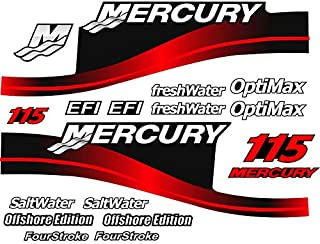 Mercury Outboard Graphics Kit Decal Sticker Compatible with Mercury 115 HP Red