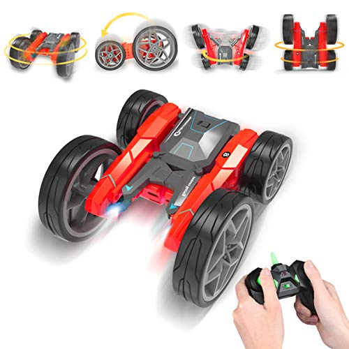 Toy Cars for Boy Girl 5-12 Years Old Remote Control Car Stunk Car Rollover 360°Double Sided Rotating Vehicles Birthday Xmas Gift for Kids Red