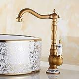 Traditionnel Mitigeur Évier Bec Pivotant à 360°avec bec haut de lavabo bain Robinet Poignée en céramique pour...