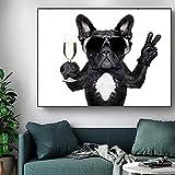 Lindo perro lienzo pintura animal póster e impresiones arte de pared un bulldog bebiendo con gafas de sol imagen para decoración de habitación de niños 50x65cm sin marco