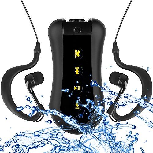 coosa Waterproof MP3-Player 2GB/4GB/8GB Waterproof Music Player Design-Clip für Schwimmen & anderen Sports (ipx-68Standard) Radio FM, 1Noir