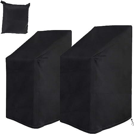 Housse de Chaise de Jardin 2 pcs, Housse de Protection pour Chaises de Jardin Empilables avec Corde et Boucle, Étanche, Résistance au Vent, Anti-UV- Noir (75 * 75 * 120cm)